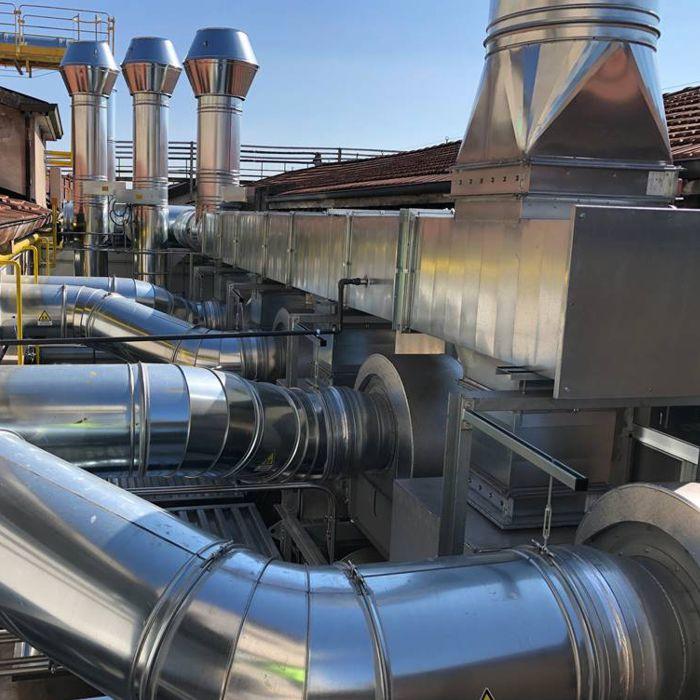 Impianto di aspirazione ed abbattimento catalitico solventi | Stampa rotocalco | Italia