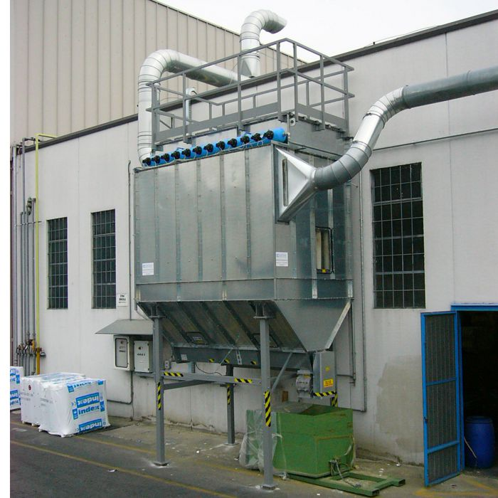 FMA self-cleaning bag dust collector | Rock wool processing | Italy